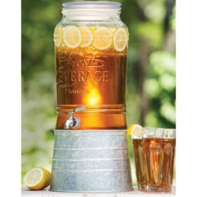 Member's Mark 2 Gallon Glass Beverage Dispenser with Galvanized Steel Base