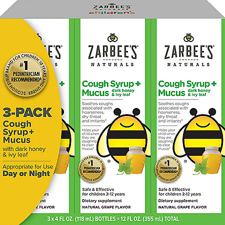 Zarbee's Natural Children's Cough Syrup + Mucus Day & Night (4 oz., 3 pk.)
