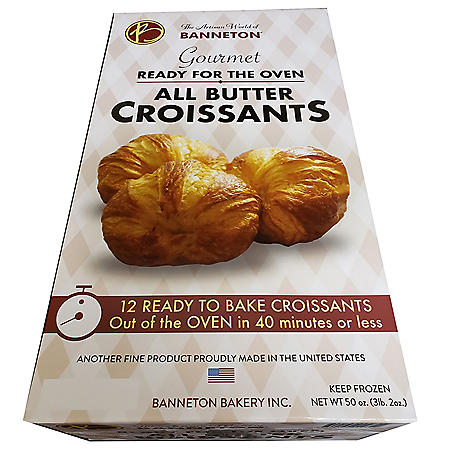 Banneton Gourmet Ready to Bake All Butter Croissants, Frozen (12 ct.)
