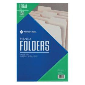 Member's Mark Manila File Folders, Legal, 150/BX