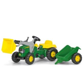 John Deere Kid Tractor with Front Loader and Trailer