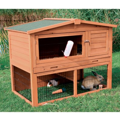 Rabbit Hutch with Peaked Roof, Medium - Glazed Pine