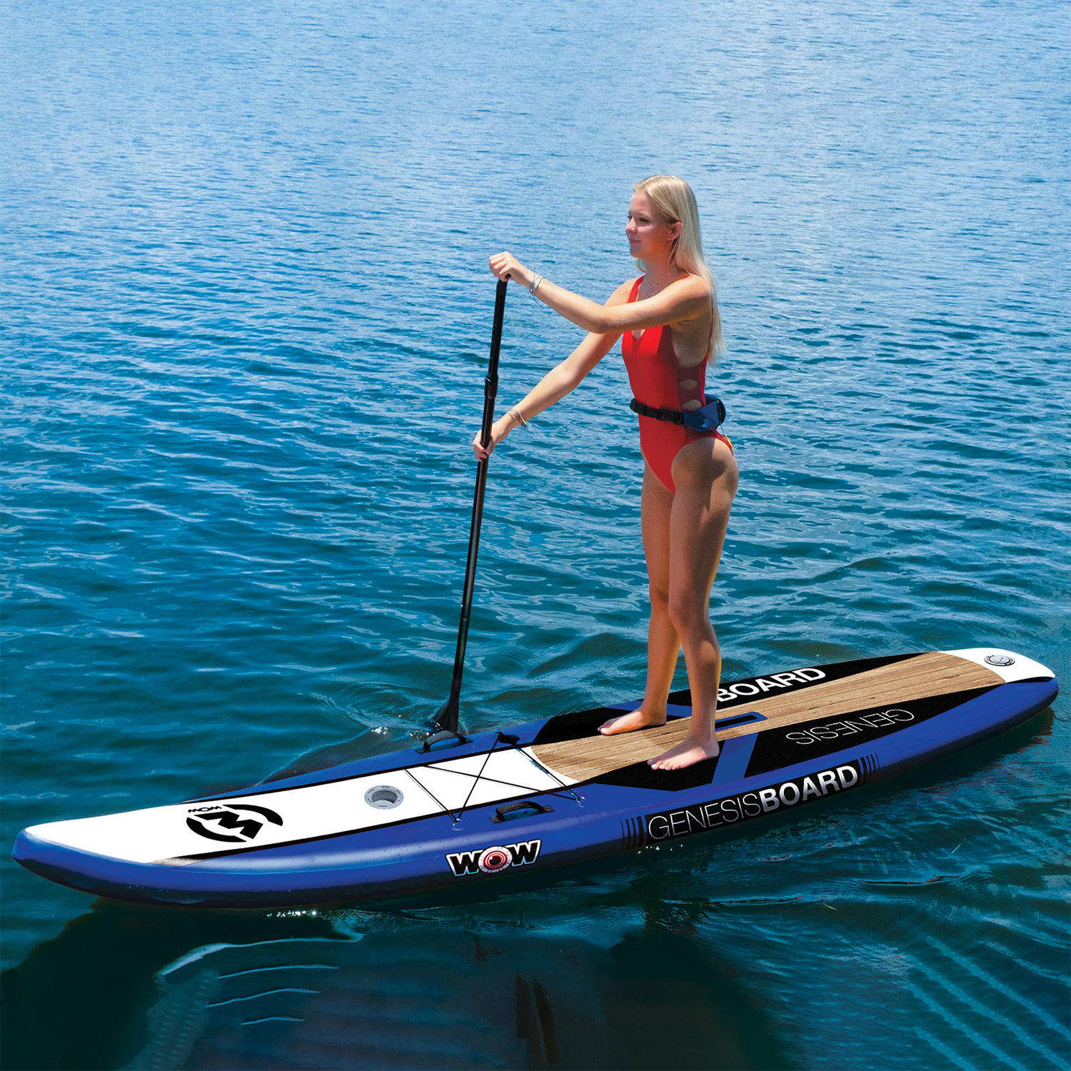 WOW 11′ Genisis Inflatabe SUP Package with Pump, Paddle, Leash and Backpack