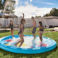 Giant Splash Pad Inflatable 10 Ft Diameter Wading Pool with Sprinkler by WOW World of Watersports