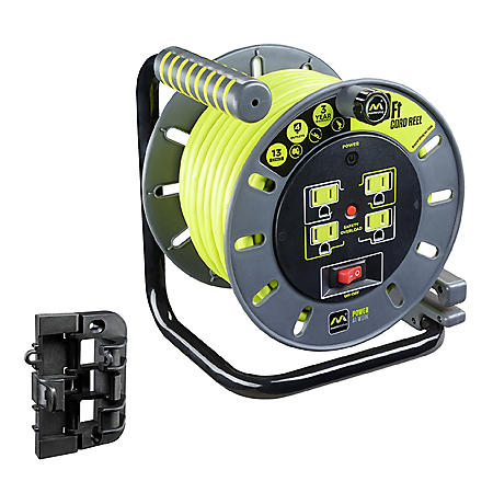 Masterplug Extension Cord Reel (60 ft.) with Wall Mounting Bracket