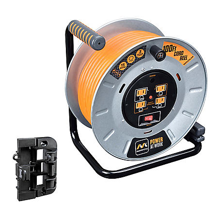 Masterplug 100' Heavy Duty Extension Cord Reel with Wall Mounting Bracket