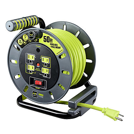 Masterplug Extension Cord Reel (50 ft.) with Wall Mount