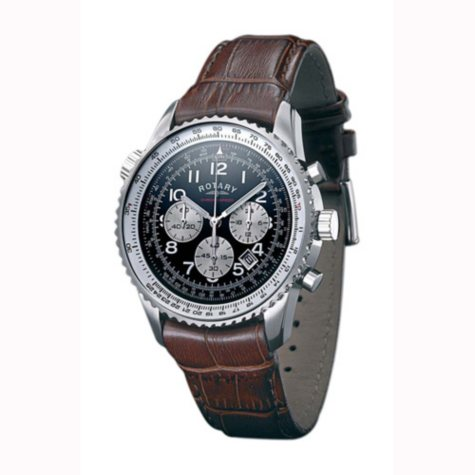 Rotary Gent's Black Dial Chronograph Strap Watch