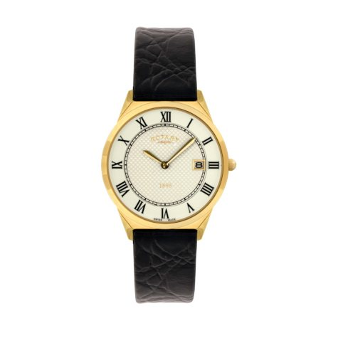 Rotary Men's Ultra Slim Leather Strap Watch