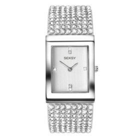 Seksy Krystal Rhodium Plated Bracelet Watch