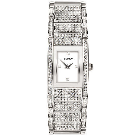Seksy Rhodium Plated Bracelet Watch