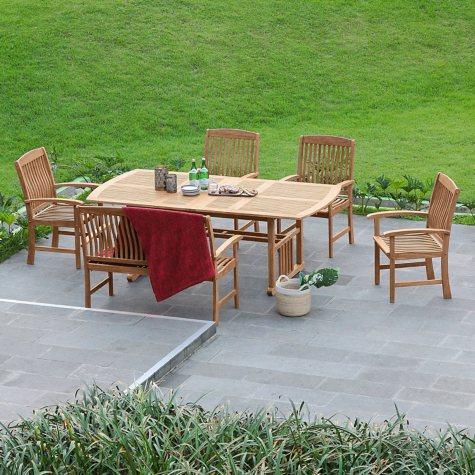 Extendable Teak Wood Dining Set - 6 pc.