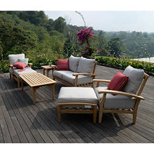 7-Pc. Teak Patio Seating Set, Choice of Cushion Color