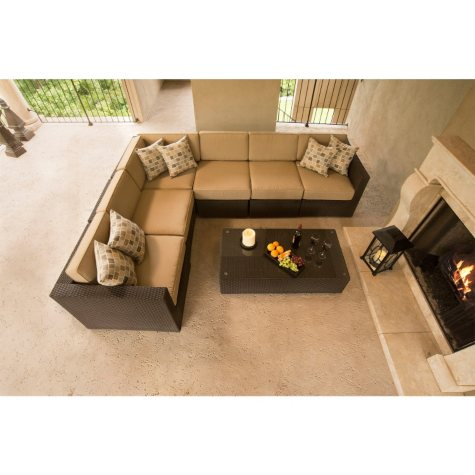 Tribecca Outdoor Patio 7 pc Sectional with Premium Sunbrella Fabric