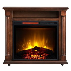 33'' Rolling Infrared Electric Fireplace with Storage