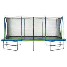 Upper Bounce Mega Trampoline with Fiber Flex Enclosure System, 10' X 17'