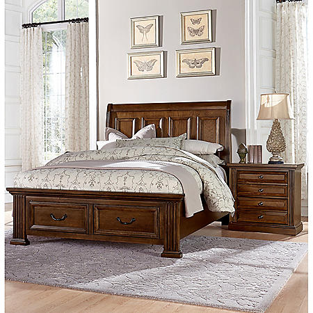 Manchester Bedroom Furniture Set with Storage Sleigh Bed