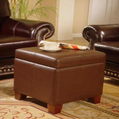 Full Grain Leather Storage Ottoman