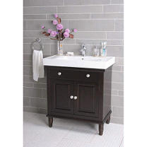 Vanity with White Porcelain Sink