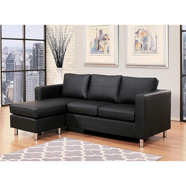 SALE Atkins Leather Sectional and Ottoman AD127N4 BLKBOND Top Living Room Furniture 2015