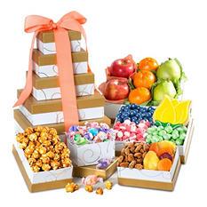 Spring Fresh Fruit & Gourmet Sweets Gift Tower