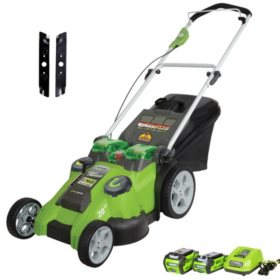 "Greenworks 20"" 40V Twin Force Cordless Lawn Mower with Extra Blades"
