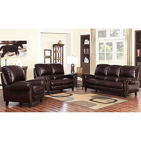 Taylor Top-Grain Leather Reclining Sofa, Loveseat and Armchair Set ...