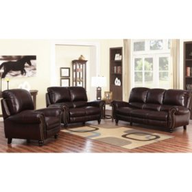 Taylor Top-Grain Leather Reclining Sofa, Loveseat and ...