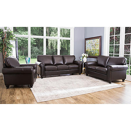 Maverick Top-Grain Leather Sofa, Loveseat and Armchair Set - Sam\'s Club
