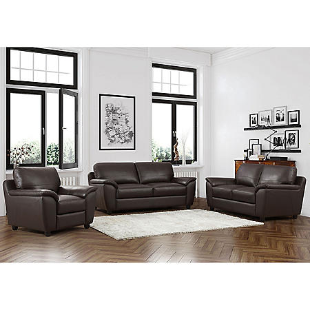 Mavin Top-Grain Leather Sofa, Loveseat and Armchair Set - Sam\'s Club