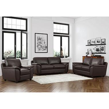 Mavin Top-Grain Leather Sofa, Loveseat and Armchair Set