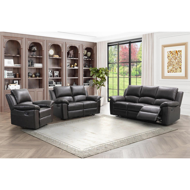 Abbyson Living Terranova Top-Grain Leather Reclining Sofa, Loveseat and Armchair Set (SC-SL-0272)