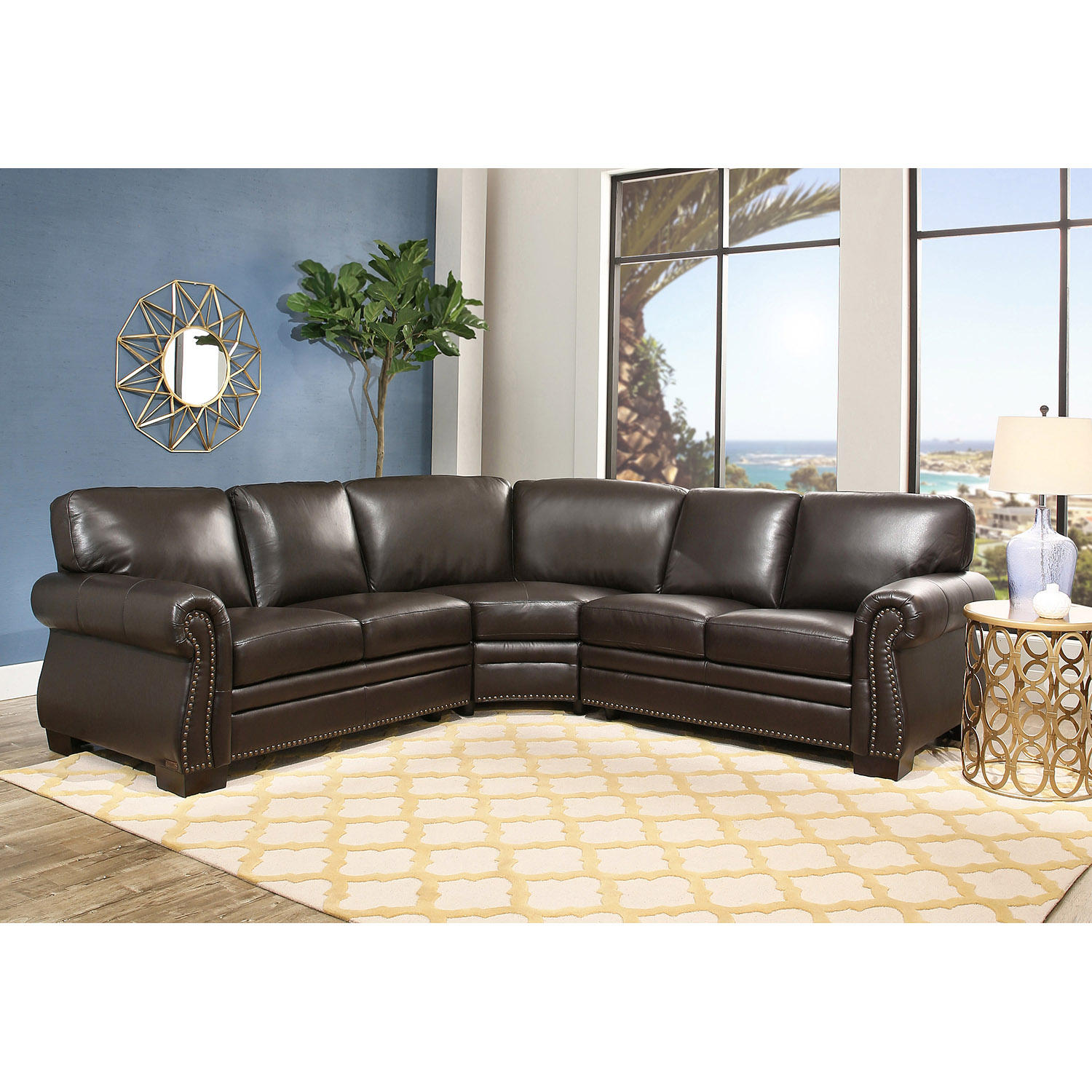 Abbyson Living Top Grain Leather Sectional Sofa