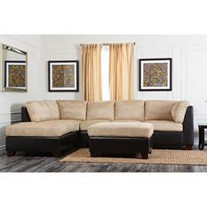 Huxton Fabric Sectional and Ottoman (Assorted Colors)