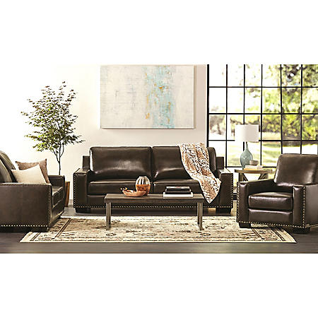 Wondrous Brighton Hand Rubbed Top Grain Leather Sofa Loveseat And Armchair Set Home Interior And Landscaping Ponolsignezvosmurscom