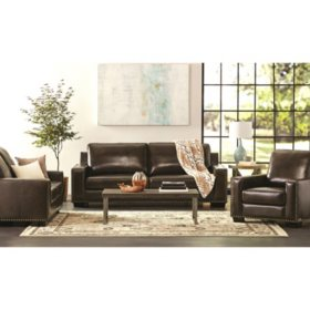 Surprising Brighton Hand Rubbed Top Grain Leather Sofa Loveseat And Machost Co Dining Chair Design Ideas Machostcouk