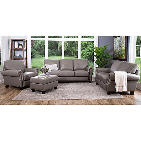 Helena Top-Grain Leather Sofa, Loveseat, Armchair and Ottoman Set ...