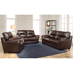 Bixley Top-Grain Leather Sofa, Loveseat and Armchair Set