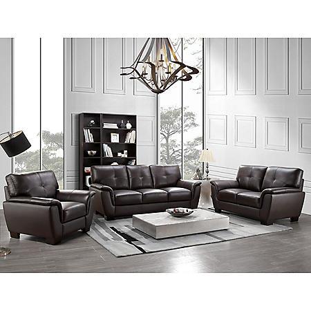 Liston Top-Grain Leather Sofa, Loveseat and Armchair Set