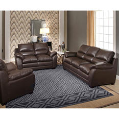 Elizabeth Top-Grain Leather Sofa, Loveseat and Armchair Set