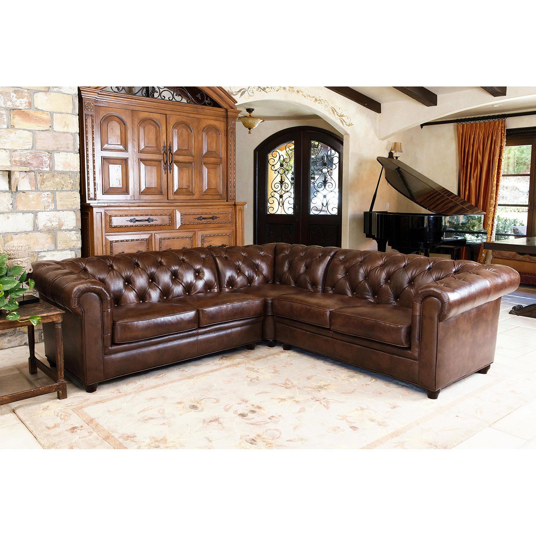 Barcelona Top-Grain Leather 3-Piece Sectional Sofa