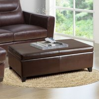 Deals on Abbyson Living Palmer Leather Storage Ottoman with Flip Top