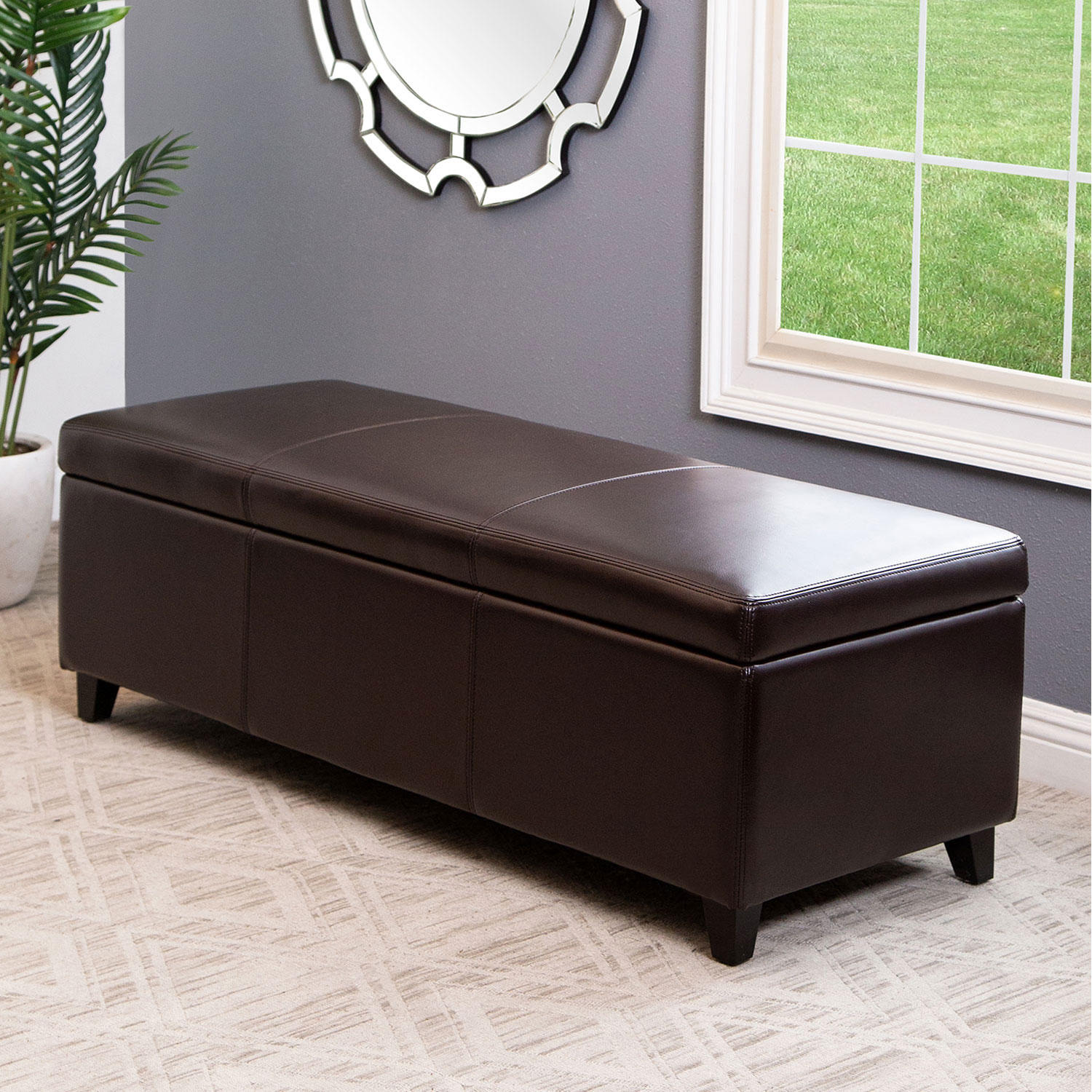 Abbyson Living Palmer Leather Storage Ottoman