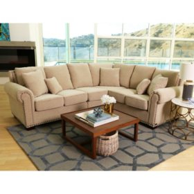 Alexandra Upholstered Sectional Sofa, Beige