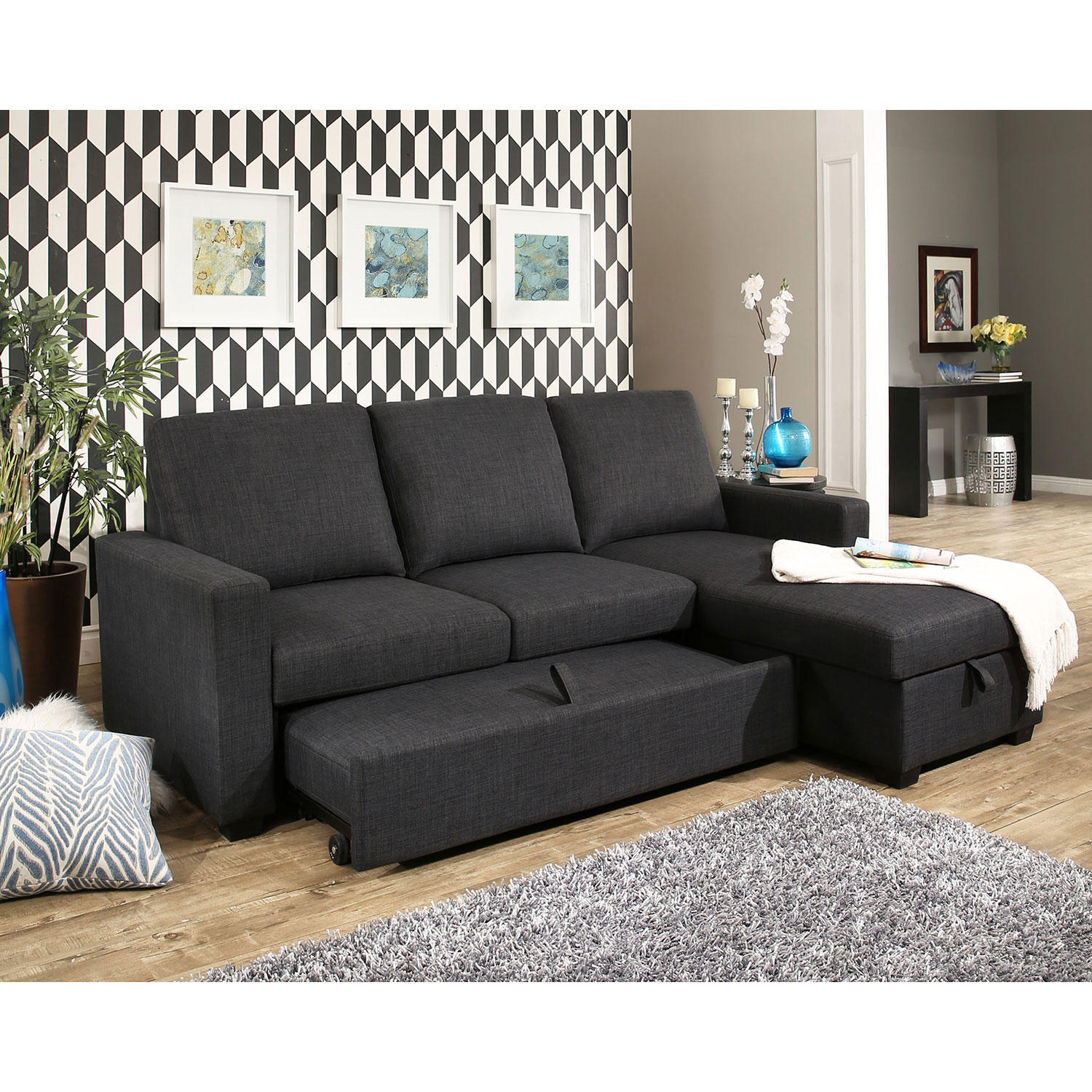 Abbyson Living Hudson Fabric Reversible Storage Sectional with Pullout Bed