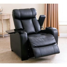Astounding Larson Leather Power Reclining Home Theater Chair Black Machost Co Dining Chair Design Ideas Machostcouk