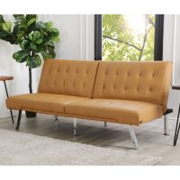 Kenzie Leather Foldable Futon Sofa Bed, Camel