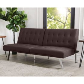 Kenzie Leather Foldable Futon Sofa Bed, Assorted Colors