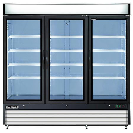 Maxx Cold X-Series Triple Door Upright Merchandiser Freezer in Black (72 cu. ft.)