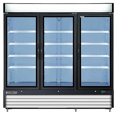 Maxx Cold X-Series Triple Door Merchandiser Refrigerator in Black (72 cu. ft.)
